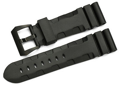 24mm Rubber Leather Wrist Straps Watch Band Black PVD Tang Buckle For Panerai