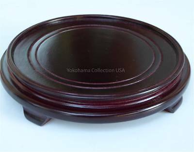 "1 PC. Asian 7.75"" Round (Inner 6.5"" D) Hardwood Vase Display Stand"