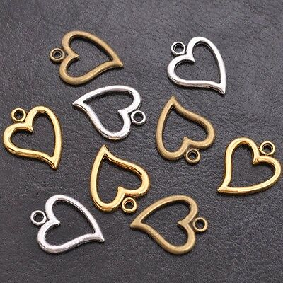 Wholesale Tibetan Sliver Heart Charms Pendant Jewelry Findings 14*17MM F3001