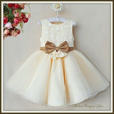 Girls Toddler Ivory Flowergirl Bridesmaid Wedding Party autumn winter Dress