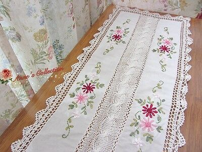 """Hand Crochet Lace Ribbon Floral Embroidery Table Runner~15'*35""""~Romantic Country"""