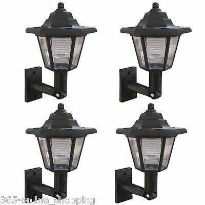 X4 Led Solar Power Wall Lantern Lamp Sun Lights Black Outdoor Mount Garden