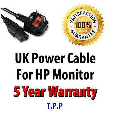 NEW UK Mains Power Lead Cable Cord For HP Monitor  LCD Screen Computer Display