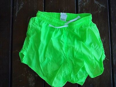 Vtg Soffe running exercise workout play kids youth size large 24-26 neon shorts