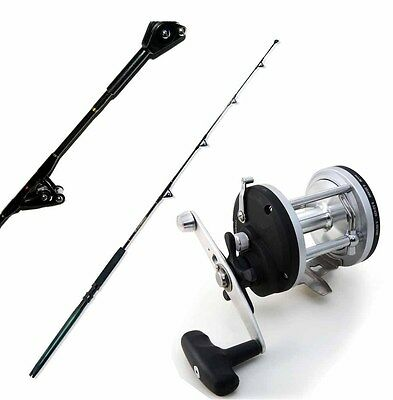 KP1992 Kit Pesca Mare Traina 50 Lb Canna Big Tuna + Mulinello Old Captain PPG