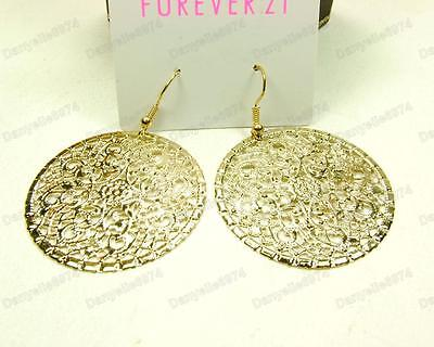 Boho Style Ornate Filigree Drop Earrings Gold Silver Round Hoop Cut Out Disc