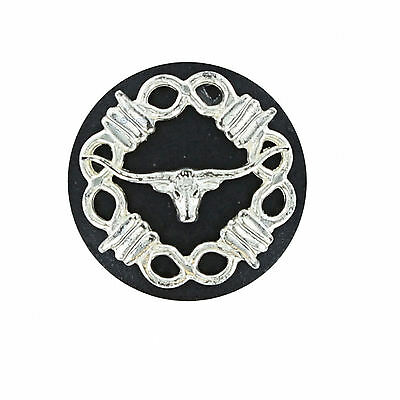 "58S-RBSL100-BNK - One Steer Longhorn w/Barbed Wire 1"" Black for Western Saddle"