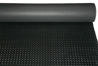 Checker - Plate Rubber Garage Flooring Matting 1.2M Wide X 3Mm Thick Antislip