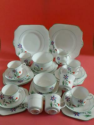 29 Piece Art Deco OSBORNE CHINA Hand Painted TEA SET