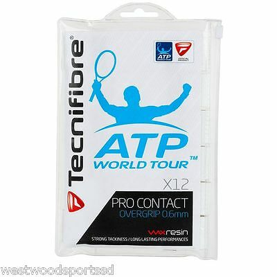 Tecnifibre Atp Pro Contact Overgrip 12 Pack New (White) Tennis Racquet