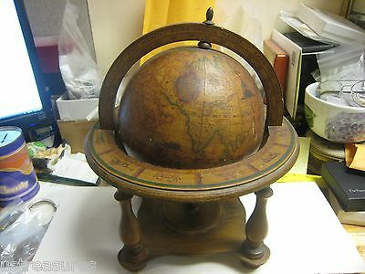 Vintage Olde World Globe Wood Spins Desk Model Made In Italy Zodiac