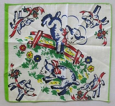 Vintage Children's Hankie Cavorting Blue and White Lambs Flowers Fence Ribbon