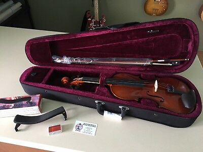 New Madera 4/4 Violin Package With Case, Bow, Rosin And Spare Strings - 4/4 Size