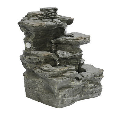 NEW BERNINI RECHARGEABLE CASCADING ROCK FOUNTAIN w/ BLUETOOTH SPEAKER SYSTEM