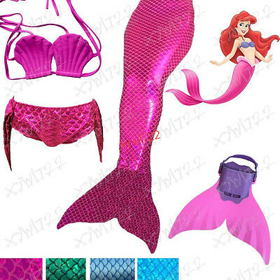 New 3Pcs Set Girls Swimmable Mermaid Tail Swimming Set Mono Fin Swimwear Cosplay
