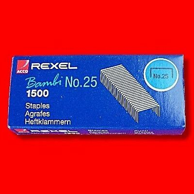 Box 1500 Rexel No 25 Small Mini Staples For Bambi Stapler Refill