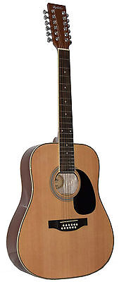 New Madera 12 String Natural Color Full Size Acoustic Guitar- Sp411-12 Nat