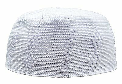 Large Cotton White w/ Double Diamond Knot Design Muslim Kufi Head Cover One-Size