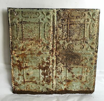 "1890's 12"" x 12"" Antique Tin Ceiling Tile Reclaimed E26a Green Anniversary Metal"