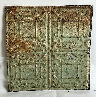 "1890's 12"" x 12"" Antique Tin Ceiling Tile Reclaimed E27a Green Anniversary Metal"