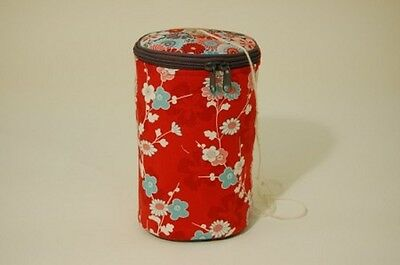 KNITTING WOOL BALL HOLDER BAG 703 KB 'SAKURA' Red Floral Design - NEW