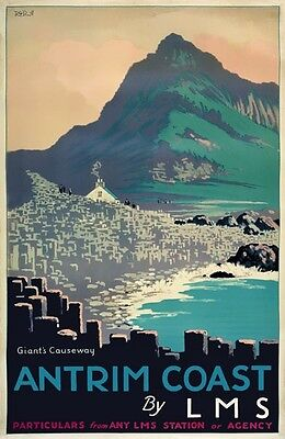 TX425 Vintage Ireland Antrim Coast Giants Causeway Railway Travel Poster A3/A4