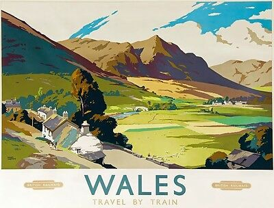TX435 Vintage British Wales By Train Railway Retro Travel Poster A2/A3/A4
