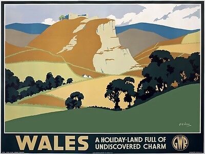 TX434 Vintage British Wales Holiday GWR Railway Retro Travel Poster A2/A3/A4
