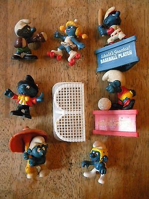 Lot Of 7 Vintage Smurfs Figures Tv Animation Character Movie Toys Smurfette