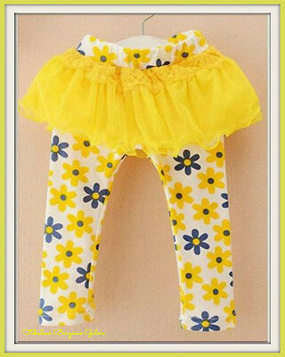 Girls Yellow Pretty Floral Kids Children Summer Autumn Casual Skeggings Bottoms