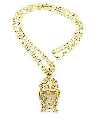 """Men Iced Out 14K Gold Plated Basketball CZ Pendant 5mm 24"""" Figaro Chain Set"""