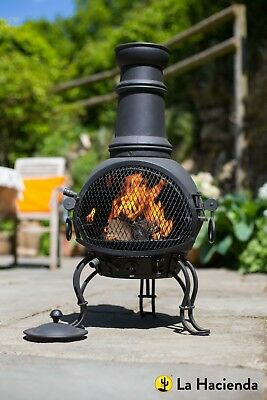 La Hacienda Black Steel 88Cm Chiminea Chimenea Patio Heater And Bbq Grill
