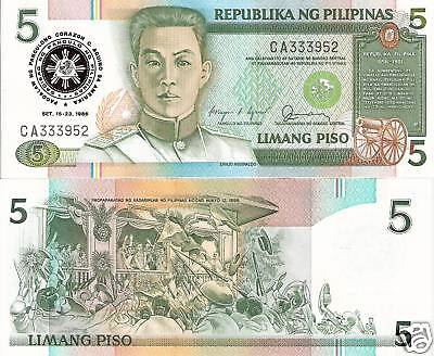 PHILIPPINES 5 Piso Banknote World Paper Money UNC Currency Pick p175b