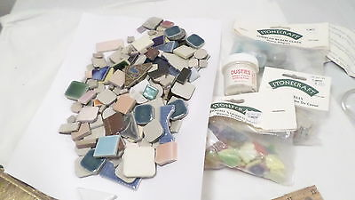 Lot Assorted Tumbled Beach  & Stained Glass & Ceramic Tiles For Mosaics Crafts