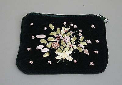 New Green Velvet Embroidered Purse Credit Card Pouch Case Ribbon Decoration RP30