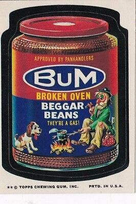 Vintage 1970's Topps Wacky Packages Tan Back Bum Broken Oven Begger Beans