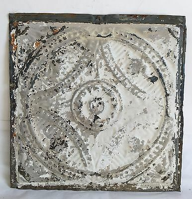 """1890's 12"""" x 12"""" Antique Tin Ceiling Tile Reclaimed E47a White Anniversary Metal"""