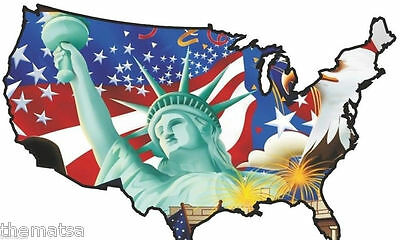 Usa Flag Map Statue Of Liberty Helmet Bumper Sticker Decal Made In Usa