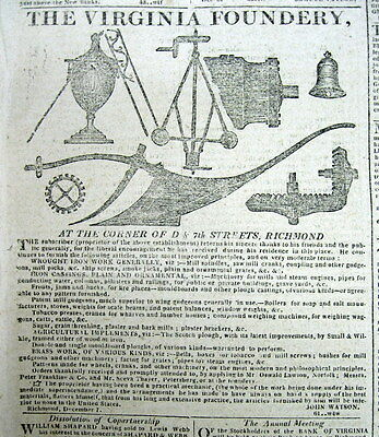 1819 Richmond Enquirer VIRGINIA newspaper w illustrated BLACKSMITH Foundery ad