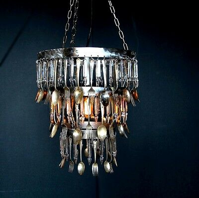 Handmade Antique Silver Spoon Fork Acrylic Crystal Chandelier Lamp Fixture