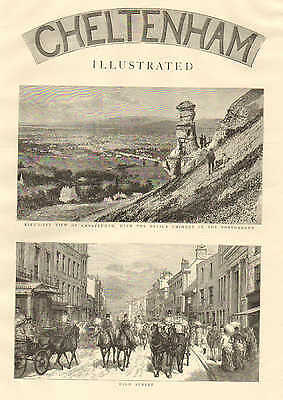 Cheltenham, England, City View, High Street, Horse & Carriage 1887 Antique Print