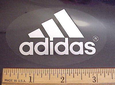 """Adidas Sports Shoes 3 1/2"""" X 2 1/8"""" Clear Oval Cellophane Logo Sticker / Decal"""