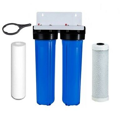 """Whole House Water Filter System Big Blue Carbon + Sediment All Of House 20""""x4.5"""""""
