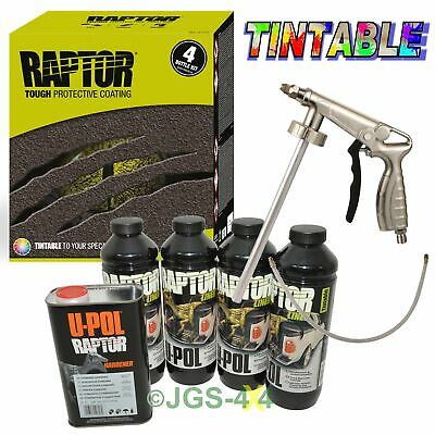 UPOL RAPTOR Ultra Tough Truck Bed Liner Spray Coating Seal TINTABLE + Spray Gun