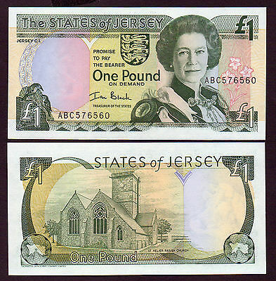 ATTRACTIVE  £1  JERSEY   QE11 issue   UNC serial ABC