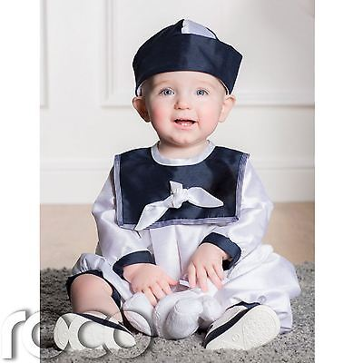 Boys Christening Romper, Babies Christening Outfits, Navy And White Romper