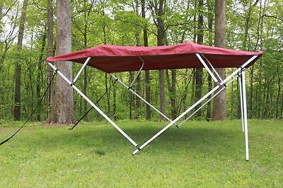 Vortex Square Tube Frame 4 Bow Pontoon/deck Boat Bimini Top 8' Burgundy 91-96""