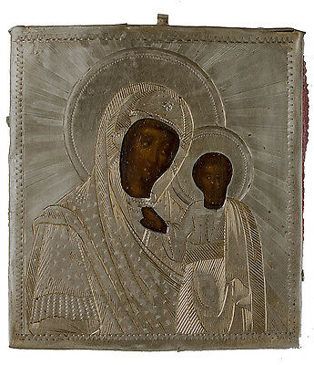 Old Antique Russian Icon of Kazanskaya Mother of God, 1866