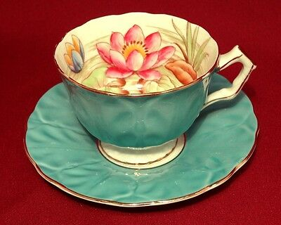 Aynsley Cabbage Leaf LILY Early Bone China Hand Painted Cup & Saucer