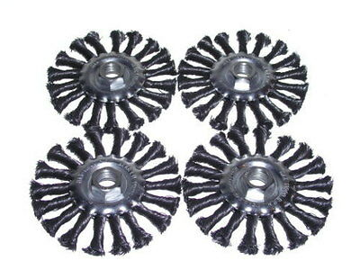 "(4-pack) 4.5"" Knot Wheel Brush 5/8-11nc twist 0.020 inch / 0.5 mm wire grinder"